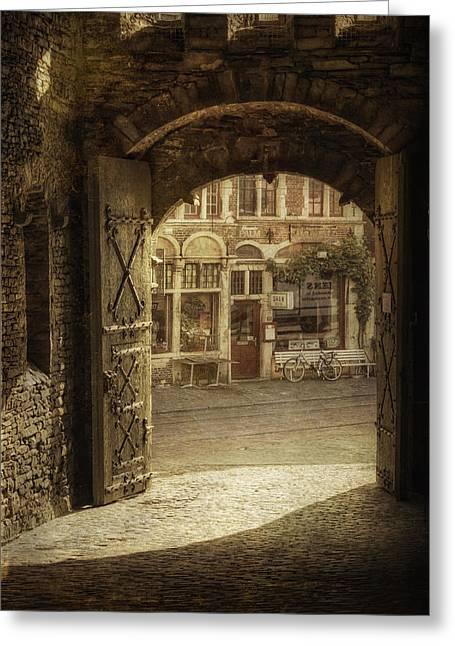 Europe Greeting Cards - Gravensteen Doorway Greeting Card by Joan Carroll