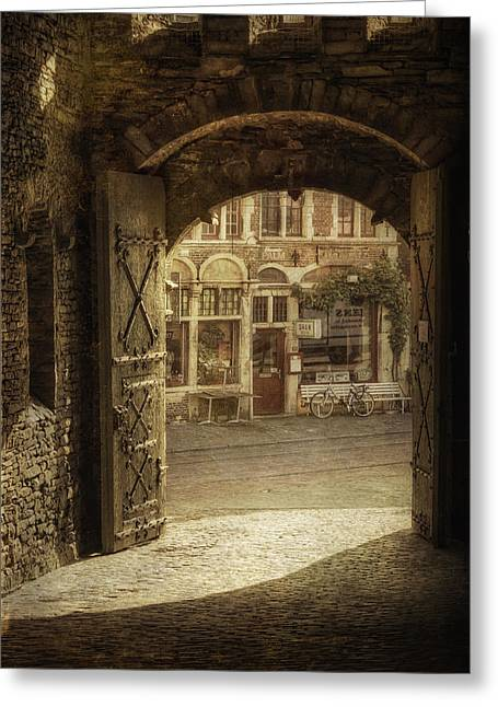 Europe Greeting Cards - Gravensteen Doorway Greeting Card by Joan Carroll