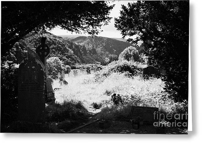 Significance Greeting Cards - Graves In The Graveyard Looking Out Down To The Valley In Glendalough Part Of The Monastic Site Greeting Card by Joe Fox