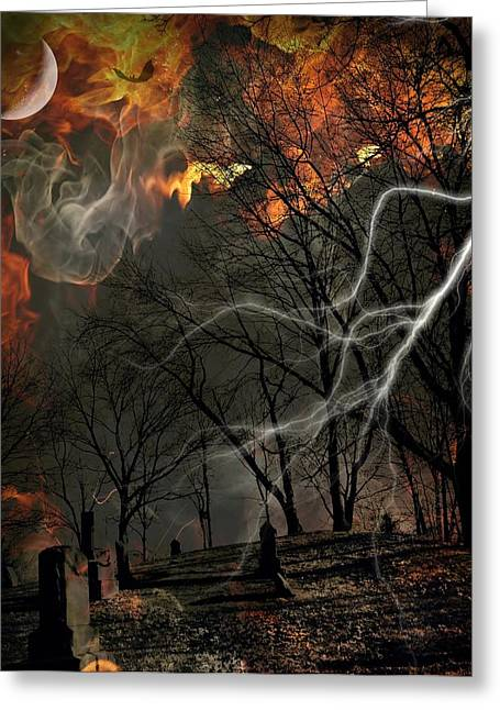 Photography Lightning Digital Art Greeting Cards - Graves On Fire Greeting Card by Lora Mercado