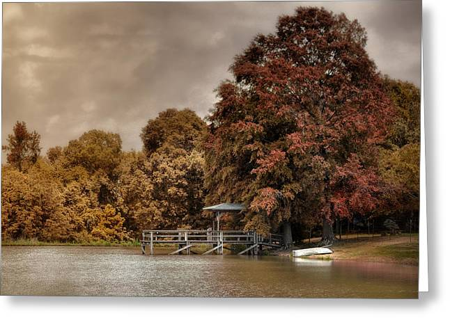 Autumn Scenes Greeting Cards - Graves Pond in Autumn Greeting Card by Jai Johnson