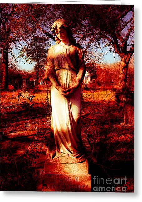 Gravesite In Red Greeting Card by Sonja Quintero
