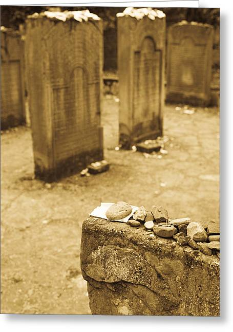 Jewish History Greeting Cards - Gravestone At Old Jewish Cemetery Greeting Card by Panoramic Images
