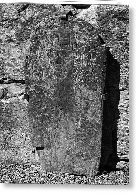 Significance Greeting Cards - Gravestone Inside The Cathedral At Glendalough Dennis Died In 1741 Aged 60 Years Greeting Card by Joe Fox
