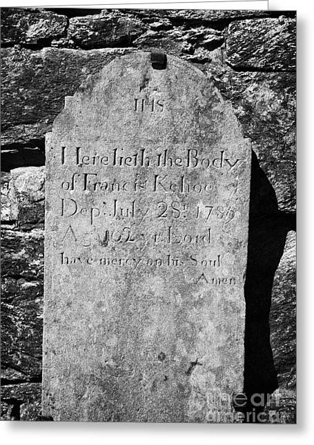 Significance Greeting Cards - Gravestone Inside The Cathedral At Glendalough Francis Kehoe Died In 1789  Greeting Card by Joe Fox