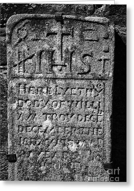 Significance Greeting Cards - Gravestone Inside The Cathedral At Glendalough William Troy Greeting Card by Joe Fox