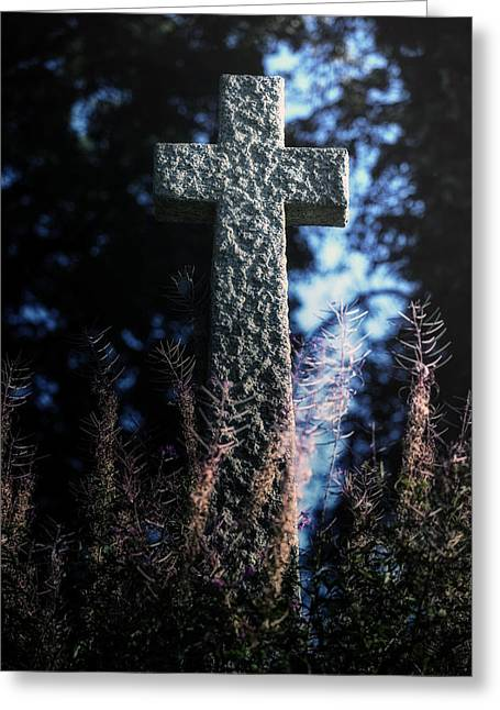 Crucifix Greeting Cards - Gravestone Greeting Card by Joana Kruse