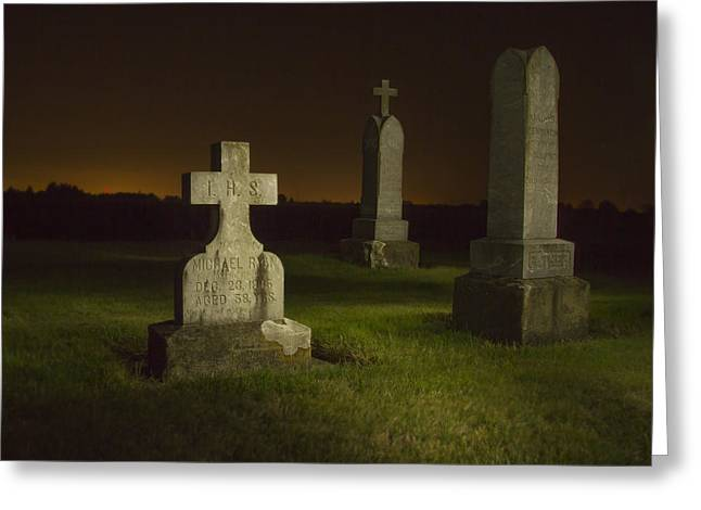 Final Resting Place Greeting Cards - Gravestones at Night Painted with Light Greeting Card by Jean Noren