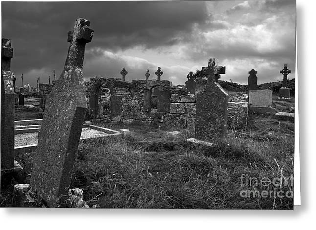 Aran Islands Greeting Cards - Graveyard at the seven churches Greeting Card by RicardMN Photography