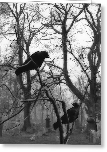 Gothic Crows Greeting Cards - Graveyard Blackbirds Greeting Card by Gothicolors Donna Snyder