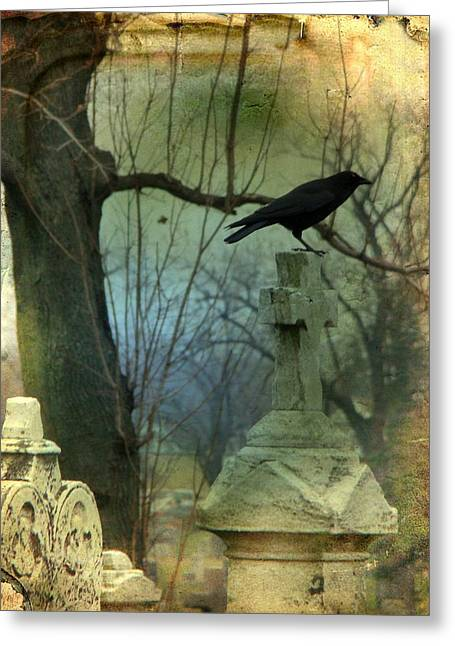 Gothicrow Greeting Cards - Graveyard Cross Greeting Card by Gothicolors Donna Snyder