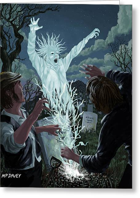 Ghost Story Greeting Cards - Graveyard Digger Ghost Rising From Grave Greeting Card by Martin Davey