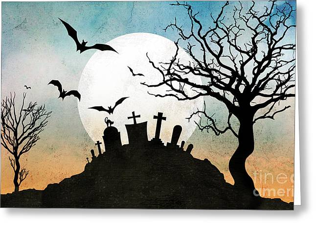 Bare Trees Mixed Media Greeting Cards - Graveyard Hill Greeting Card by Bedros Awak