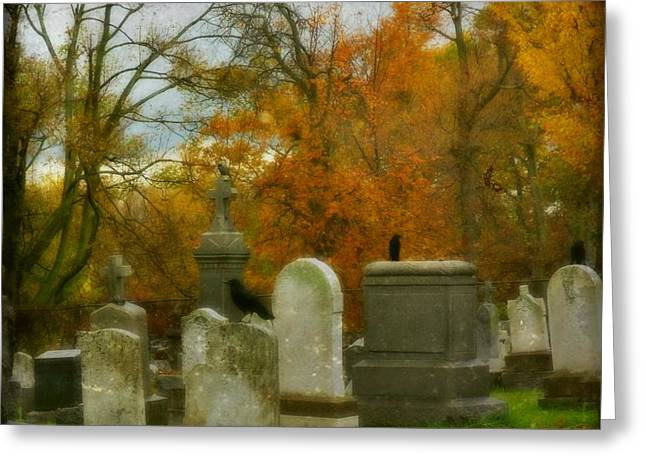 Ravens In Graveyard Greeting Cards - Graveyard In Fall Greeting Card by Gothicolors Donna Snyder