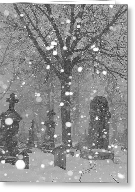 Snow Scenes Greeting Cards - Graveyard In Winter Greeting Card by Gothicolors Donna Snyder