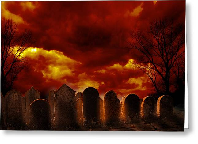 Funeral Greeting Cards - Graveyard Greeting Card by Jelena Jovanovic