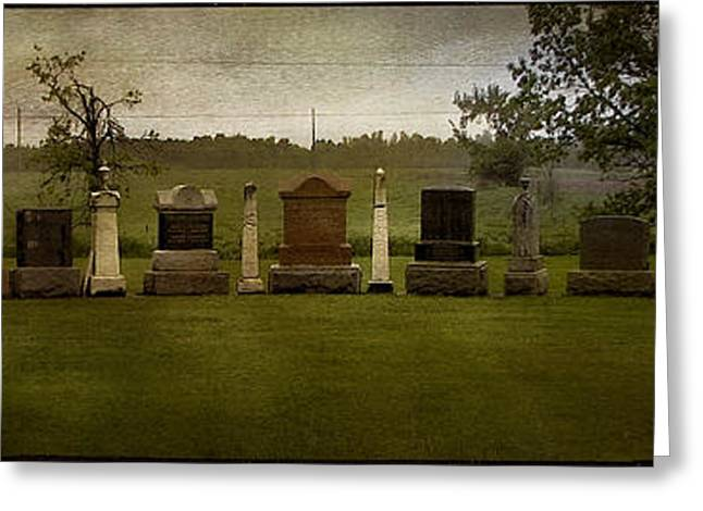 Olive Green Greeting Cards - Graveyard Landscape Photograph Greeting Card by Laura  Carter