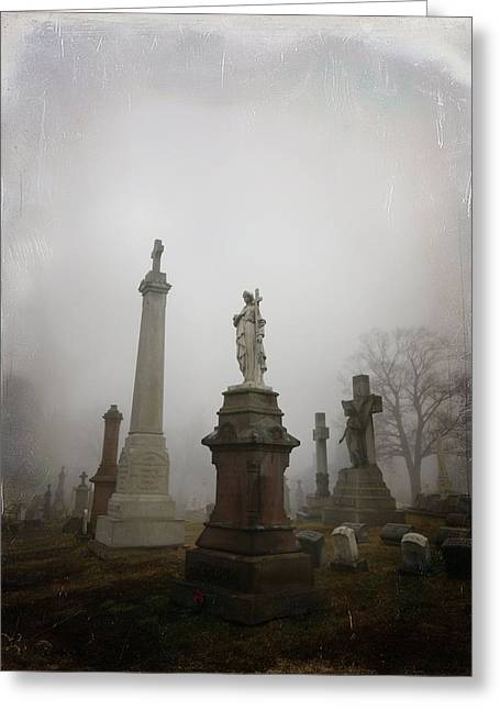 Gothicrow Greeting Cards - Graveyard Morning Greeting Card by Gothicolors Donna Snyder
