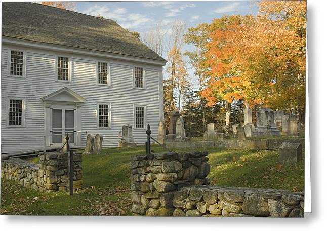 Historic England Greeting Cards - Graveyard Old Country Church In Maine Greeting Card by Keith Webber Jr