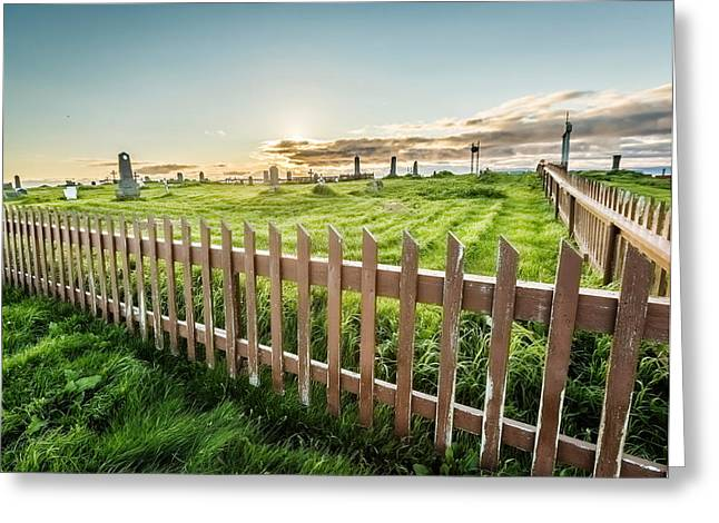 Headstones Photographs Greeting Cards - Graveyard On Flatey Island Greeting Card by Panoramic Images