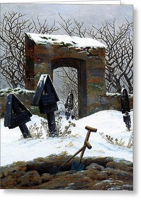 Graveyard Under Snow Greeting Card by Philip Ralley