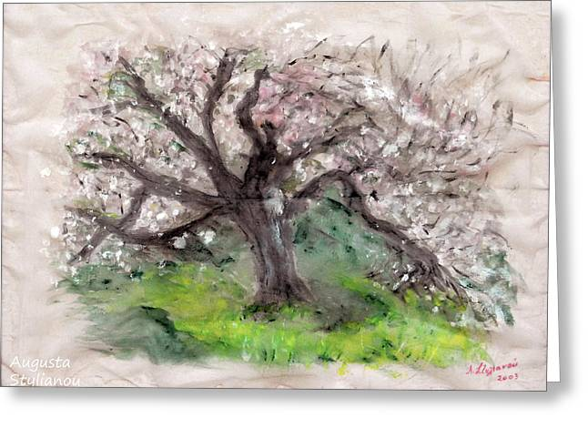 Ethereal White Trees Greeting Cards - Gravity of the Almond Tree Greeting Card by Augusta Stylianou