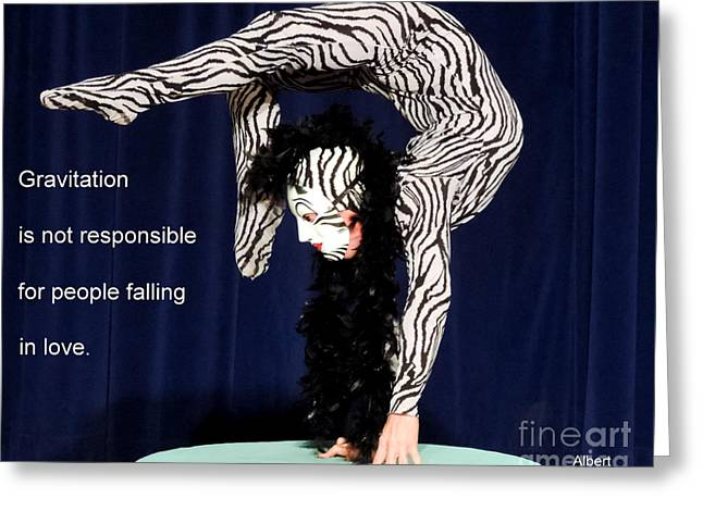 Athletic Love Greeting Cards - Gravity Greeting Card by Vicki Buckler