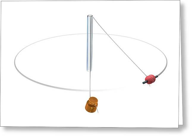 Gravity Vs Centripetal Force Greeting Card by Mikkel Juul Jensen