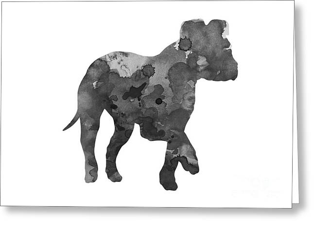 Puppies Mixed Media Greeting Cards - Gray amstaff watercolor art print painting Greeting Card by Joanna Szmerdt