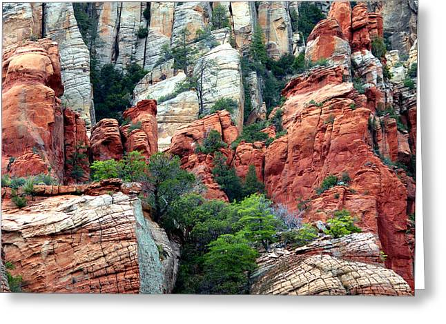 Gray and Orange Sedona Cliff Greeting Card by Carol Groenen