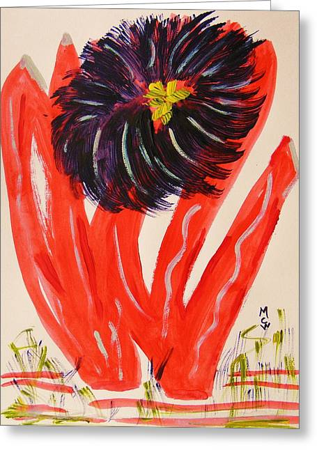 Gray And Vermillion Greeting Card by Mary Carol Williams