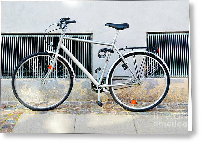 Catherine Wheel Greeting Cards - Gray Bicycle in Copenhagen Greeting Card by Catherine Sherman