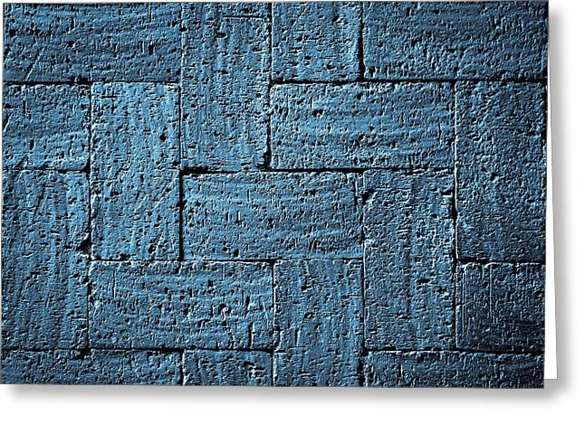Burned Clay Greeting Cards - Gray Blue Burnt Bricks Pavement Greeting Card by Jozef Jankola