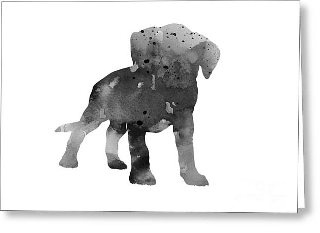 Gray Boxer Puppy Silhouette Greeting Card by Joanna Szmerdt