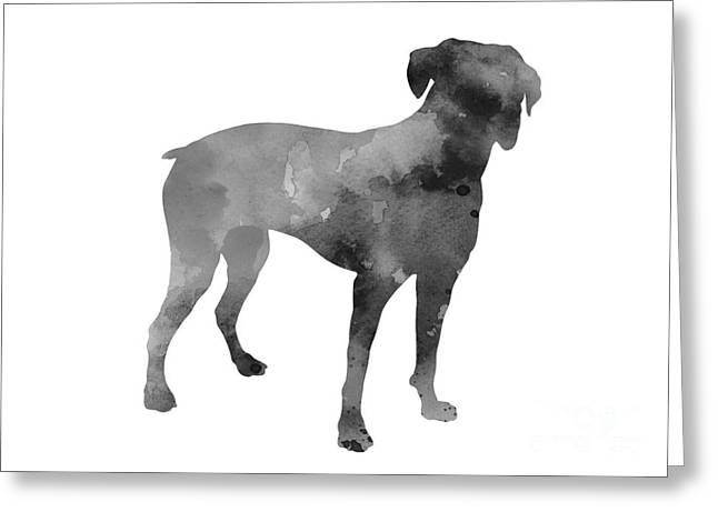 Boxer Abstract Art Greeting Cards - Gray boxer silhoeuette art print watercolor painting Greeting Card by Joanna Szmerdt