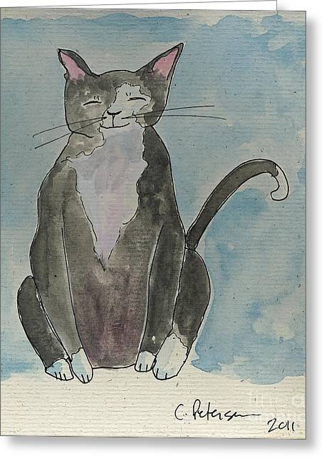 Ventura California Greeting Cards - Gray cat sitting in the sun.  Greeting Card by Cathy Peterson