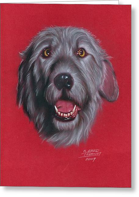 Hound Pastels Greeting Cards - Gray Dog Greeting Card by M Gerald Delaney