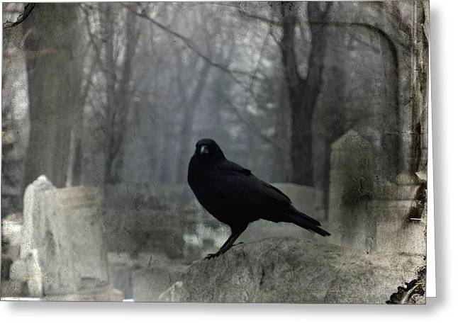 Gothicrow Greeting Cards - Gray Graveyard Greeting Card by Gothicolors Donna Snyder