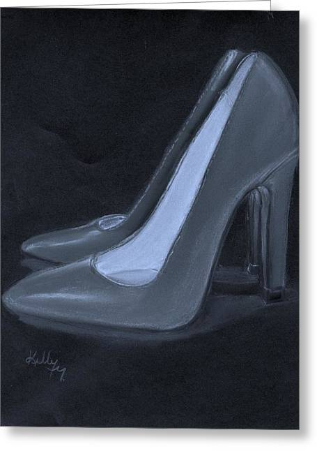 High Heeled Pastels Greeting Cards - Grey Heels Greeting Card by Kelly Mills