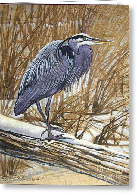 Amate Bark Paper Greeting Cards - Gray Heron Greeting Card by Anne Shoemaker-Magdaleno