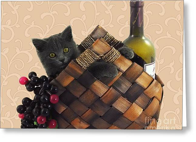 Cute Kitten Paintings Greeting Cards - Gray Kitten Wine Basket and Grapes Greeting Card by Robyn Saunders