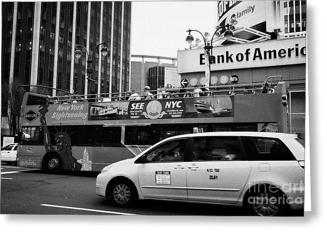 Manhatan Greeting Cards - Gray Line New York Sightseeing Bus And Yellow Mpv Taxi Cab On 7th Avenue New York City Greeting Card by Joe Fox