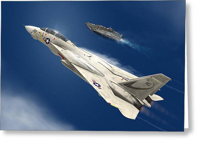 Naval Aviation Greeting Cards - Gray Over Blue Greeting Card by Hangar B Productions