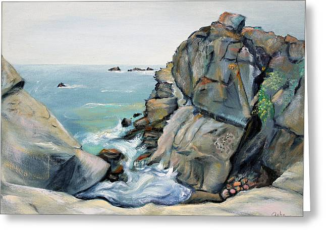 Gray Rocks And Sky At Gerstle Cove Greeting Card by Asha Carolyn Young