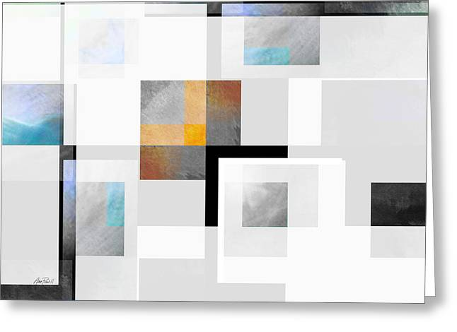 Large Blocks Of Color Greeting Cards - Gray Series Three abstract art Greeting Card by Ann Powell