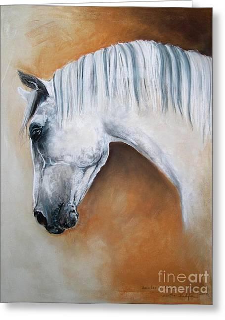Grey Horse Greeting Cards - Gray Stallion xxoo Greeting Card by Dorota Kudyba