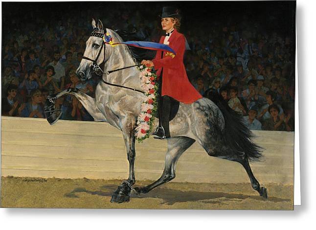Gray Tennessee Walking Horse - Female Red Coat Greeting Card by Don  Langeneckert