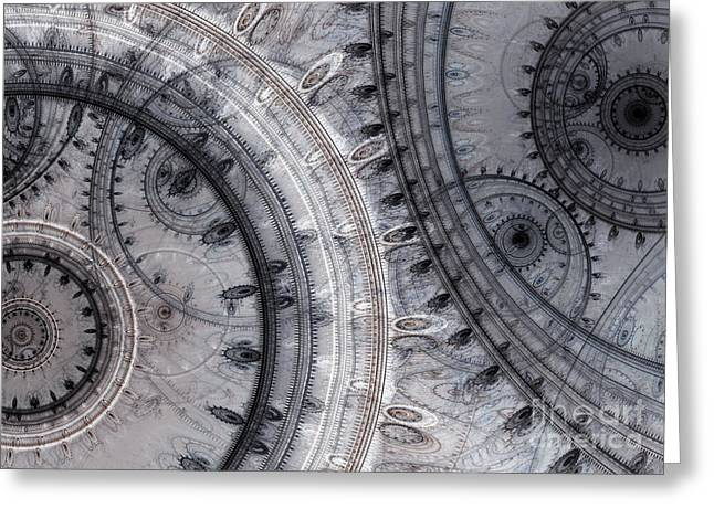 Steampunk Digital Art Greeting Cards - Gray time Greeting Card by Martin Capek