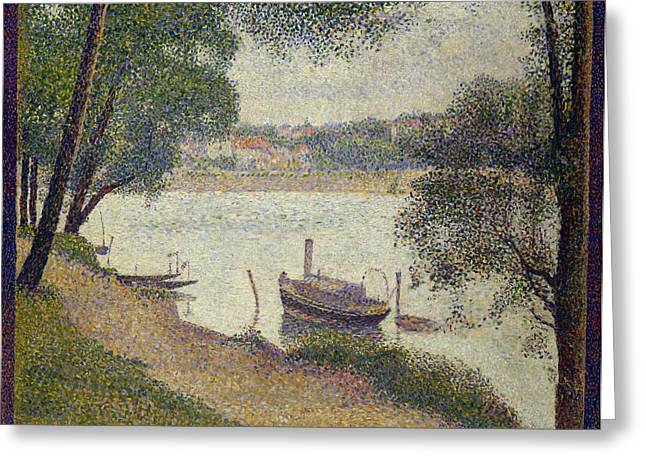 Seurat Greeting Cards - Gray Weather Greeting Card by Georges Seurat