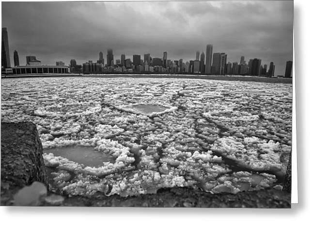 Lake Michgan Greeting Cards - Gray winter Chicago skyline Greeting Card by Sven Brogren